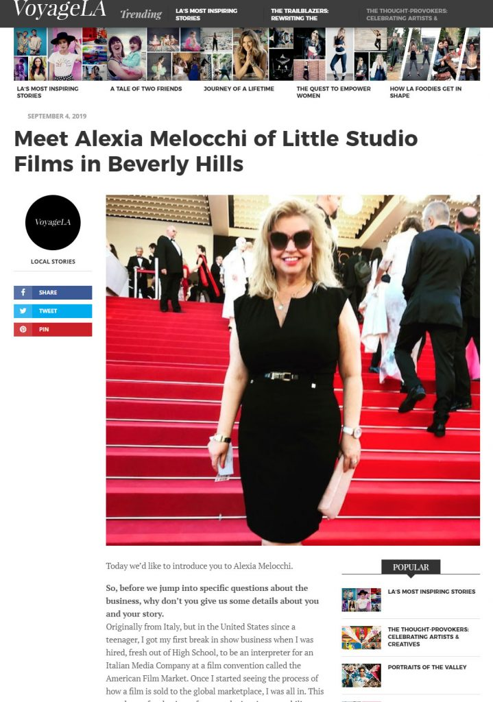Voyage LA Magazine - Meet Alexia Melocchi of Little Studio Films in Beverly Hills