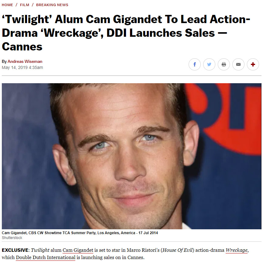 'Twilight' Alum Cam Gigandet To Lead Action-Drama 'Wreckage'